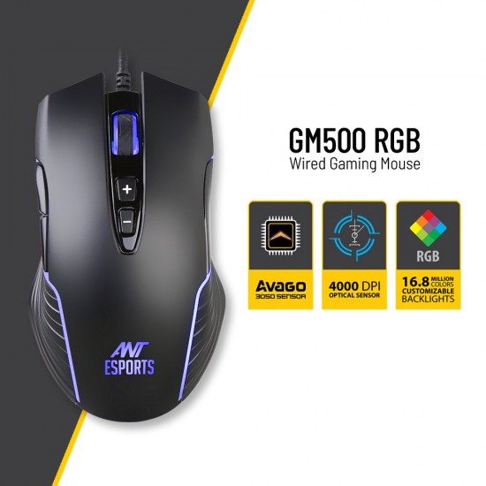 Ant Esports GM500RGB Gaming mouse with 1000 Hz polling rate 4000 Dpi for FPS and Moba Deltapage.com
