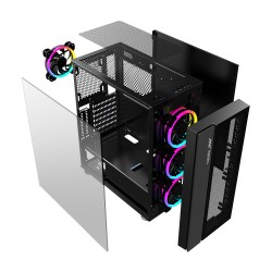 ANT Case ICE-511MT With Tempered Glass Side Panel, 3 x 120mm Auto-RGB Front & 1 x120mm Fan