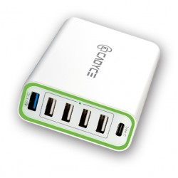 Cadyce 60W 6-Port USB Wall Charger with Quick Charge 3.0 technology 4x2.4A + 1xtype-C 3A + 1xQC 3.0  CA-6UCWC