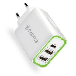 Cadyce 28WDual USB + USB-C Wall Charger  2x2.4A + 1xtype-C 3A CA-DUCWC