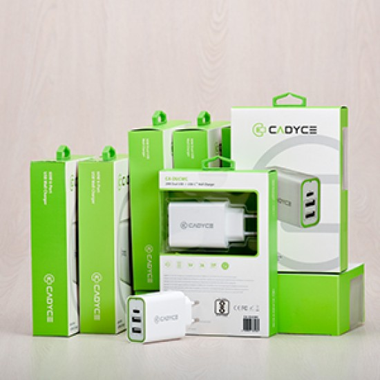 Cadyce 28WDual USB + USB-C Wall Charger  2x2.4A + 1xtype-C 3A CA-DUCWC Deltapage.com