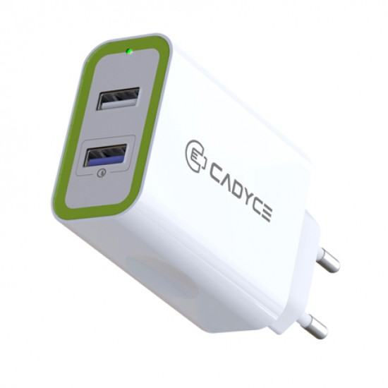 Cadyce 30W Dual USB Wall Charger with Quick Charge 3.0 technology 1x2.4A + 1xQC 3.0 CA-DUWC Deltapage.com