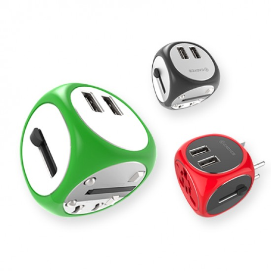 Cadyce Universal Travel Adapter with Dual USB ports CA-UTA Green Deltapage.com