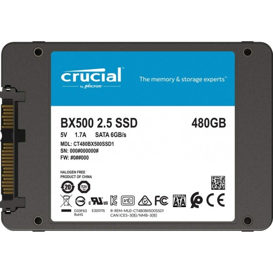 Crucial 480GB BX500 SATA 3D NAND SSD CT480BX500SSD1 Deltapage.com