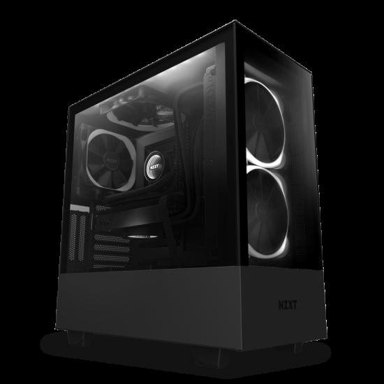 NZXT Case H510 Elite Matt Black With Tempered Glass 2 AER RGB Fans 1 ARGB LED Strip CA-H510E-B1 Deltapage.com
