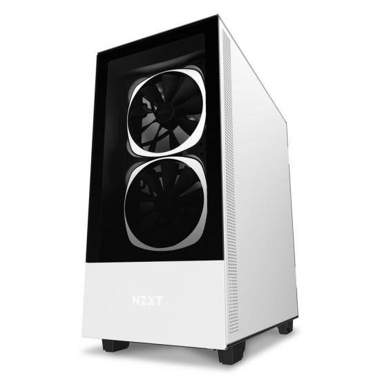 NZXT Case H510 Elite Matt White With Tempered Glass 2 AER RGB Fans 1 ARGB LED Strip CA-H510E-W1 Deltapage.com