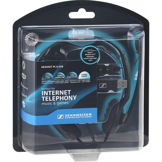 Sennheiser PC 8 USB Usb Pc Stereo Headset With Noise Cancelling Microphone Deltapage.com
