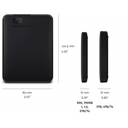 WD Element USB 3.0 Portable External HDD Black 1TB - WDBUZG0010BBK-EESN
