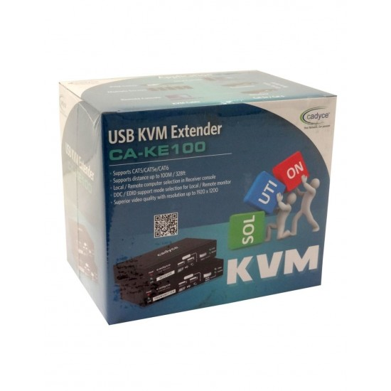 Cadyce USB KVM Extender over CAT5/CAT5e/CAT6 Cable with Display Resolution upto 1920 x 1200 CA-KE100 Deltapage.com