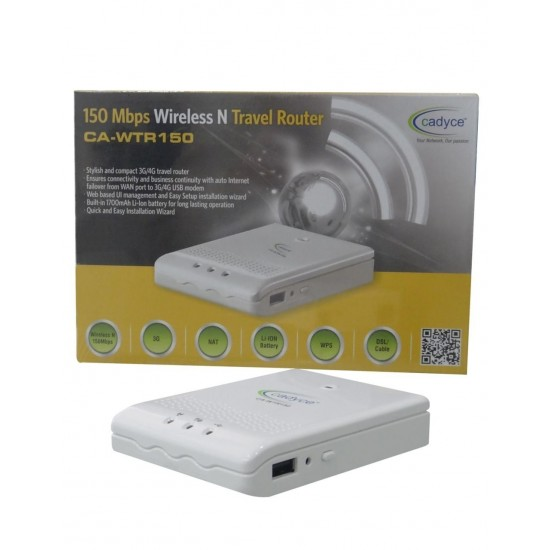 Cadyce 150Mbps Wireless N Travel Router (supports 2G/3G/4G) CA-WTR150 Deltapage.com