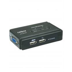 Cadyce 2 Port Desktop USB KVM Switch with 2x 1.2m USB KVM combo cables (High VGA resolution 2048 x 1536) CA-UK200