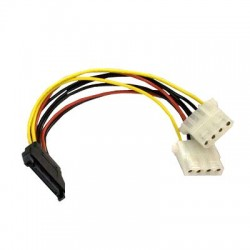 Sata 15pin Male to Dual 4pin Molex Female