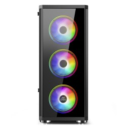 Ant Esports ICE-400TG Mid Tower Gaming Cabinet 3 RGB Front And 1 Black Rear Fan