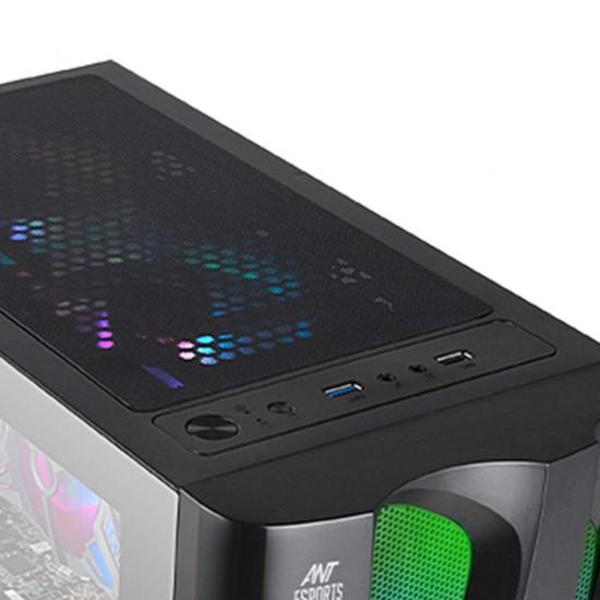 Ant Esports ICE-320TG Mid Tower Case (3 x 120 mm ARGB + 1x120 mm Black Fan)