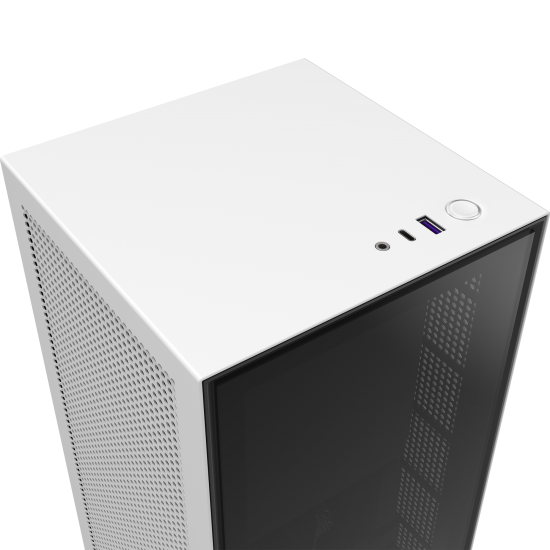 NZXT Mini-ITX Case H1 Matte White With 650W  PSU, AIO, and PCIe Gen3 Riser cable
