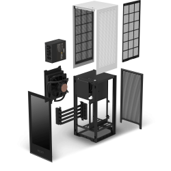 NZXT Mini-ITX Case H1 Matte White With 650W 80+ Gold SMPS, Liquid Cooler AIO CA-H16WR-W1